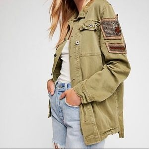 Free People NWOT Embellished Military Shirt Jacket